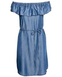 Light Blue Denim Off Shoulder Dress