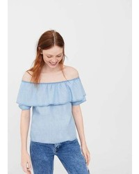 Mango Off Shoulder Denim Blouse