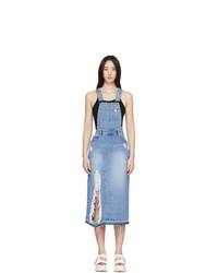 Sjyp Blue Denim Destroyed Slit Overall Dress