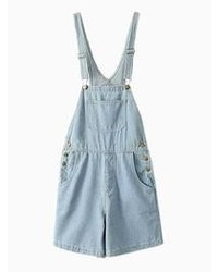 Light Blue Denim Overall Shorts