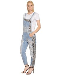 Amen embellished cotton denim overalls medium 958611