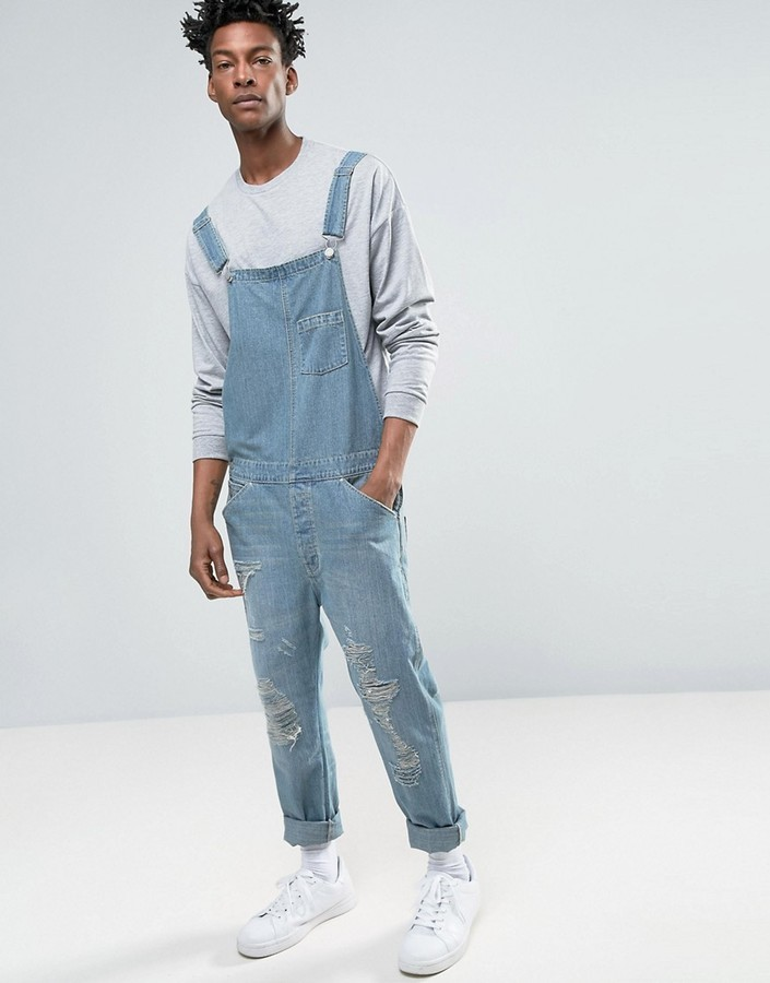 be8729350dad ... Asos Denim Overalls In Vintage Light Blue With Rips ...