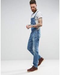 Asos Denim Overalls With Retro Front Pocket In Vintage Light Blue Wash