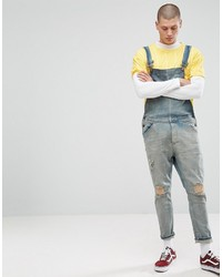 Asos Overall In Light Wash Blue With Busted Knees