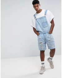 New Look Overalls With Rips In Light Wash