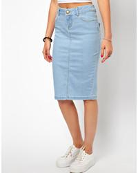 light blue denim pencil skirt asos ultra denim pencil