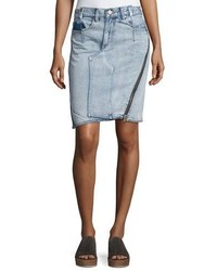 3.1 Phillip Lim Asymmetrical Denim Pencil Skirt W Zipper Indigo