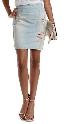 Charlotte Russe Destroyed Light Wash Denim Skirt | Where to buy ...