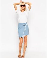 Asos Collection Denim Raw Edge Asymmetric Wrap Mini Skirt