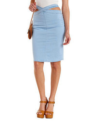 Charlotte Russe Crossover Cut Out High Waisted Denim Skirt