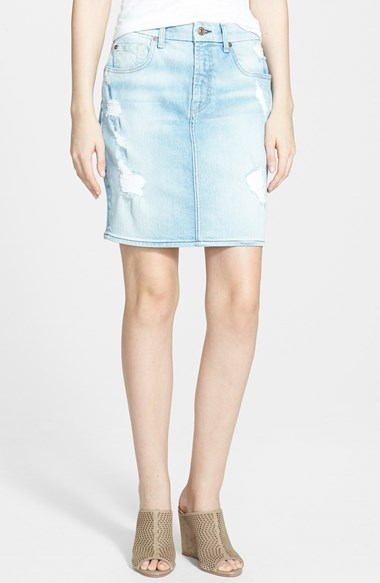 c147fca4e3b9 7 For All Mankind Destroyed Mid Rise Denim Pencil Skirt, $198 | Nordstrom |  Lookastic.com