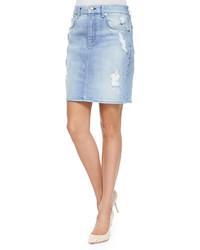 Distressed denim pencil skirt medium 173635