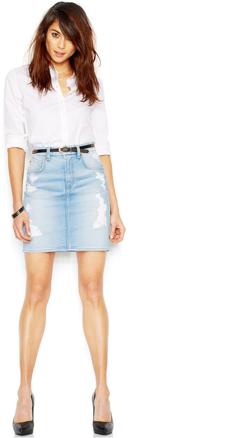 7 For All Mankind Distressed Denim Skirt | Where to buy & how to wear