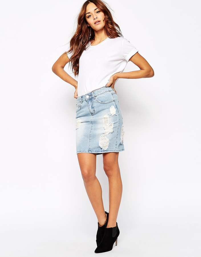 Vila Distressed Denim Skirt   Where to buy & how to wear