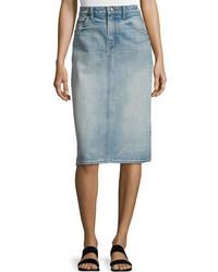 Helmut Lang Faded Denim Pencil Skirt Light Blue