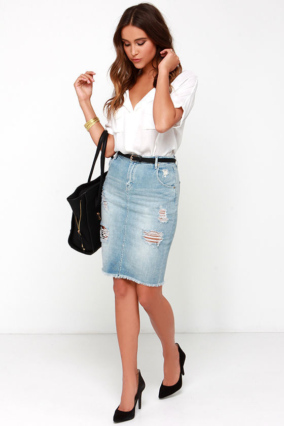 Dittos Kathleen High Waisted Distressed Denim Pencil Skirt Where