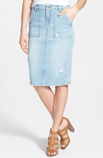 Lucky Brand Patch Pocket Stretch Denim Pencil Skirt Saline 28 ...