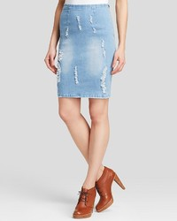 Lucy Paris Pencil Skirt Distressed Denim
