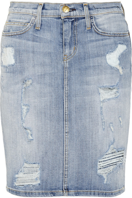 Current/Elliott The Stiletto Distressed Stretch Denim Pencil Skirt ...