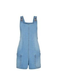 New Look Blue Denim Pinafore Playsuit