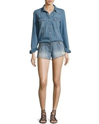BA&SH Thomas Denim Long Sleeve Playsuit Light Blue