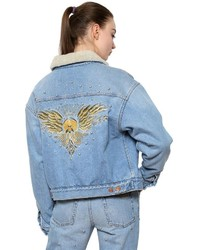 Etoile Isabel Marant Cotton Denim Jacket W Faux Shearling