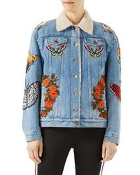 Gucci Embroidered Denim Jacket With Shearling Fur Lining Light Blue