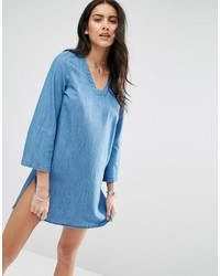 Only Bell Sleeve Denim Shift Dress