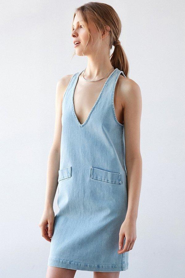 3ff9ec5c3e ... Urban Outfitters › Light Blue Denim Shift Dresses Courtshop Car  Plunging Denim Shift Dress ...