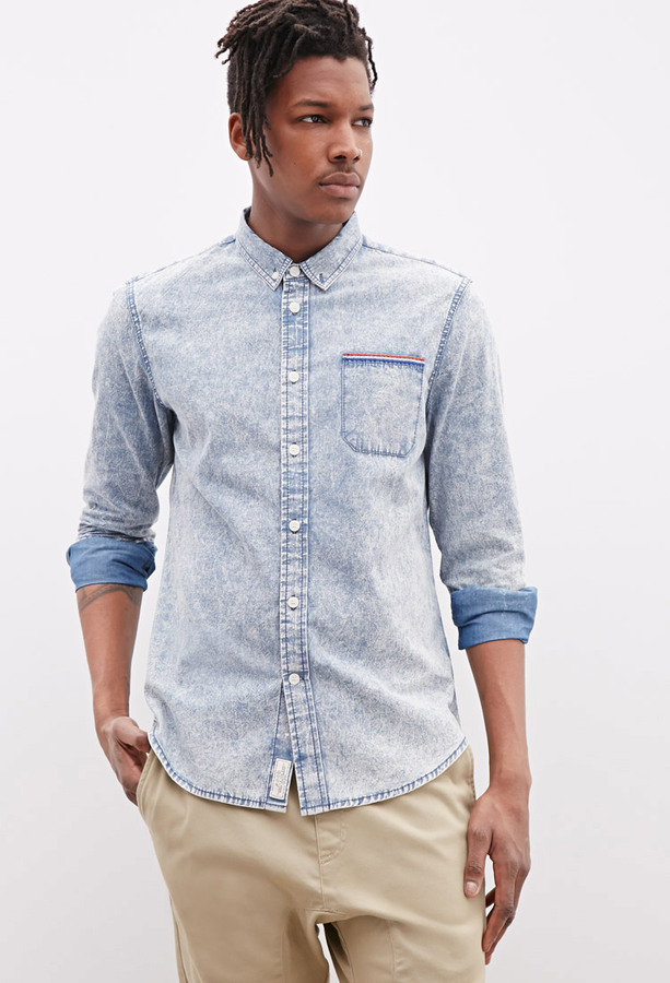 c5c1592b6 ... Light Blue Denim Shirts 21men 21 Ad Lib Embroidered Acid Wash Denim  Shirt ...