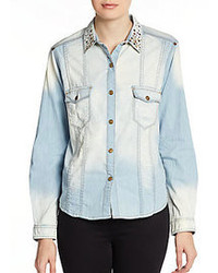 7 For All Mankind Embellished Collar Faded Denim Shirt