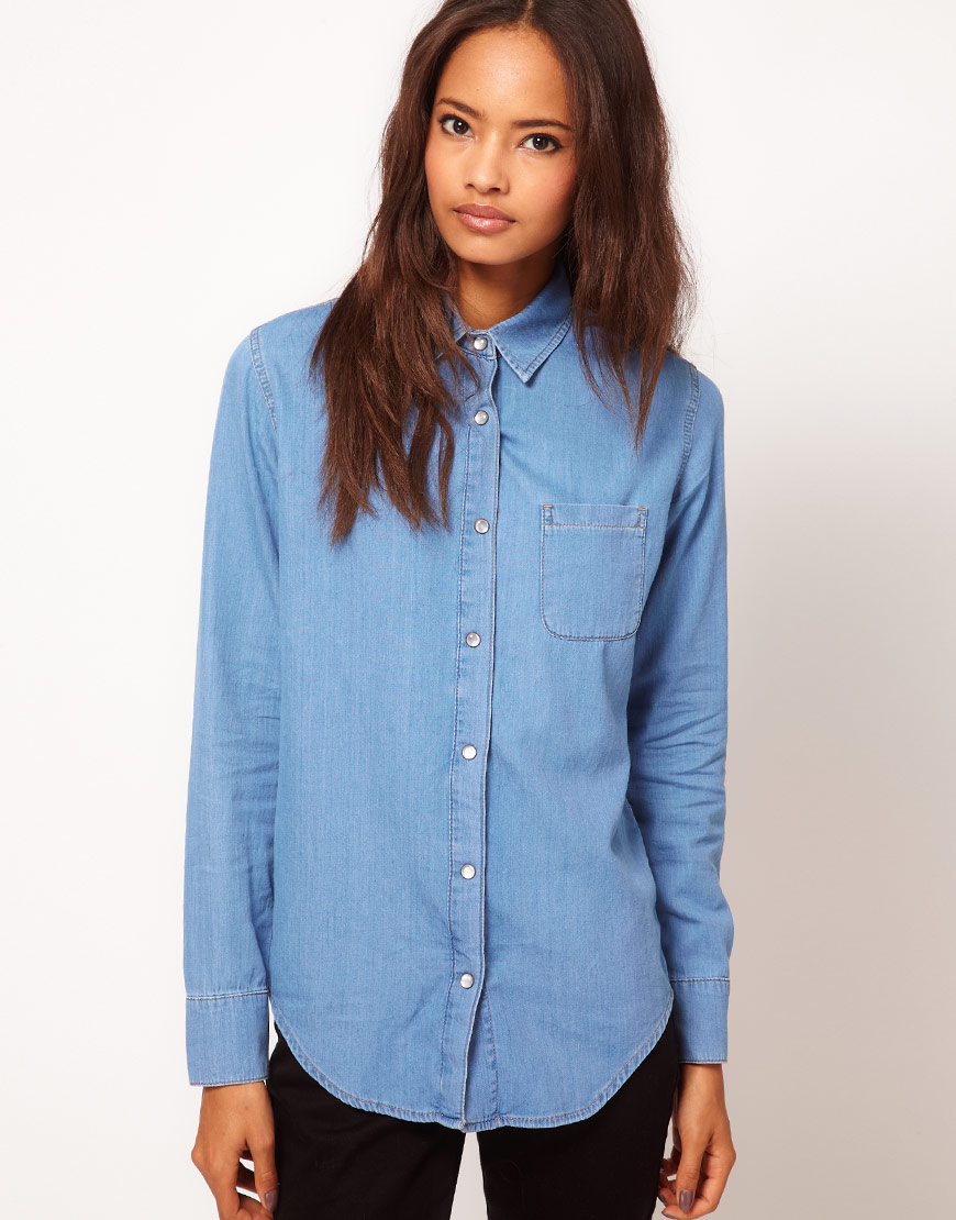ddc6a1f4924 Ladies Pale Blue Denim Shirt