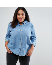Asos Curve Asos Design Curve Denim Shirt In Midwash Blue