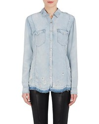 Blank NYC Blanknyc Distressed Denim Button Front Shirt