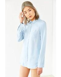 NATIVE YOUTH Bleach Washed Denim Shirt