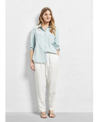 Violeta BY MANGO Bleached Denim Shirt