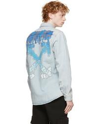 Off-White Blue Denim Arrows Print Shirt