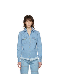 MARQUES ALMEIDA Blue Denim Fitted Cowboy Shirt