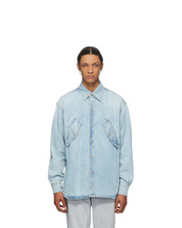 Marcelo Burlon County of Milan Blue Denim Rural Cross Shirt