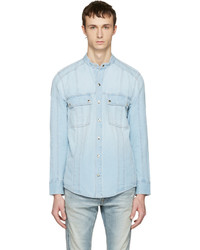 Blue panelled denim shirt medium 1249969