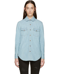 Saint Laurent Blue Ruffled Collar Denim Shirt