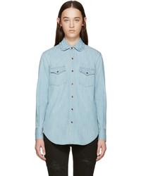 Blue ruffled collar denim shirt medium 584167