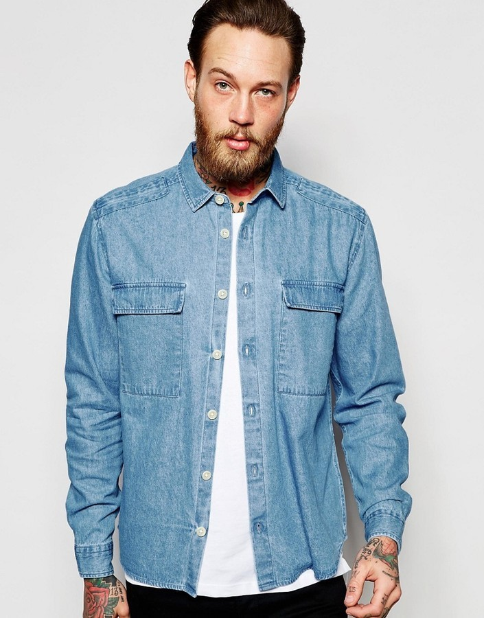 d898629a35 ... Shirts Asos Brand Military Denim Overshirt With Two Pockets ...