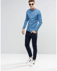 2a95983ff7 ... Asos Brand Skinny Denim Shirt In Mid Wash With Grandad Collar And Long  Sleeve