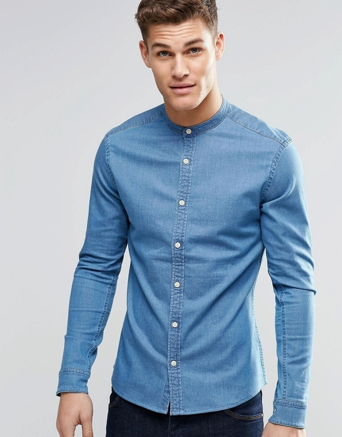 fdc4b85ad75 ... Asos Brand Skinny Denim Shirt In Mid Wash With Grandad Collar And Long  Sleeve ...