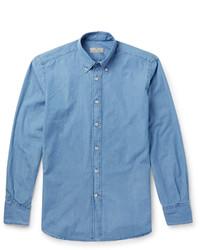 Canali Button Down Collar Bleached Denim Shirt
