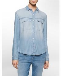 Calvin Klein Faded Chambray Soft Drape Shirt