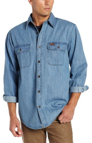 Carhartt washed denim work shirt long sleeve button front for Blue button up work shirt
