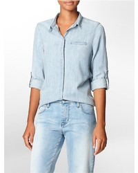 Calvin Klein Chambray Button Front Roll Up Sleeve Top Shirt