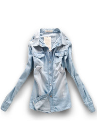 ChicNova Denim Collared Shirt